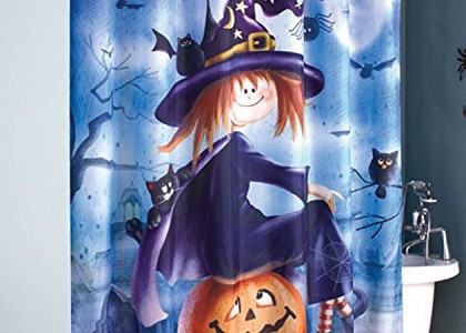 Halloween Witch and Pumpkin Shower Curtain