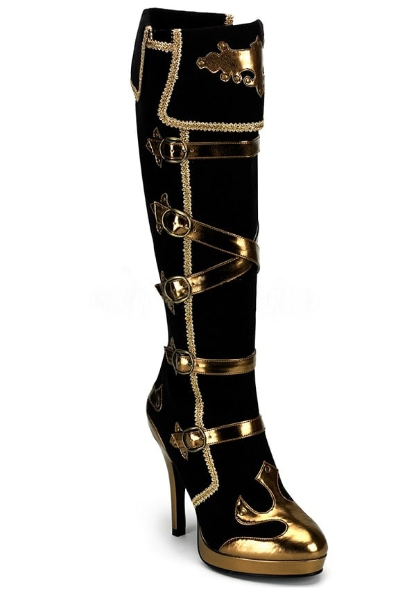 Sexy Black and Gold Pirate Boots - Sexy Plus Size Pirate Costumes