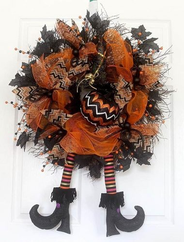 Halloween wreath with witch legs and witch hat