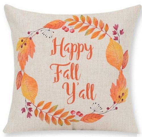 "fall throw pillow that says: ""Happy Fall Y'all"" Love it!"