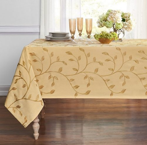 Leaf embroidered Thanksgiving tablecloth - Beautiful tablecloth for Thanksgiving