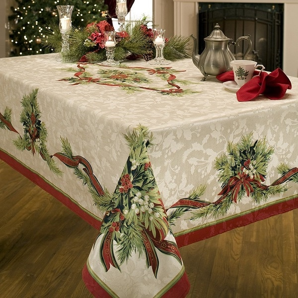 Christmas Ribbons Tablecloth - Tablecloths for Christmas