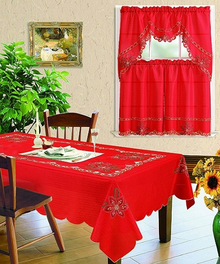Red Embroidered Christmas Tablecloth - Tablecloths for Christmas