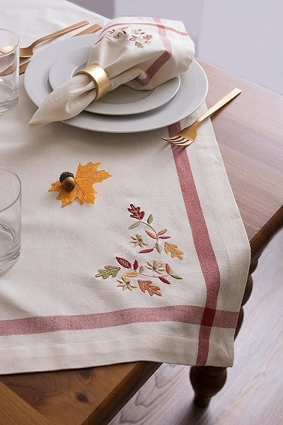 Embroidered Fall Leaves Thanksgiving Tablecloth