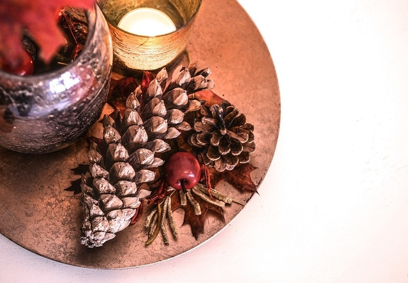 Autumn Centerpiece with pine Cones and Rustic Candle Holders