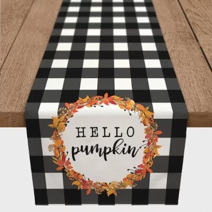 Hello Pumpkin Black White Check Table Runner
