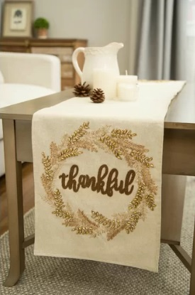 Thankful Embroidered Thanksgiving Table Runner