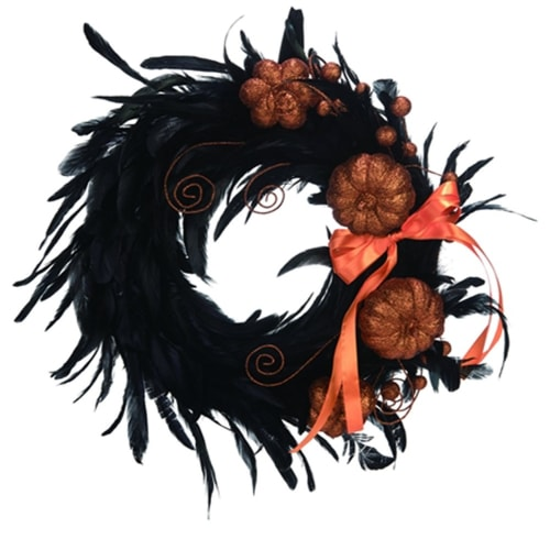 Black Feather Halloween Wreath with Glitter Pumpkins