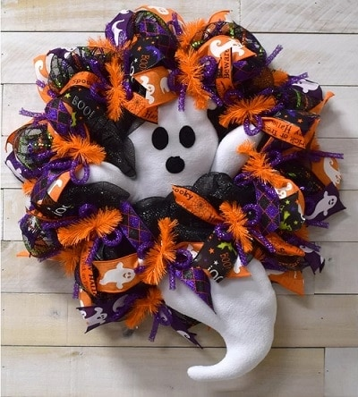 Halloween Wreath with Cute Ghost and Ribbons