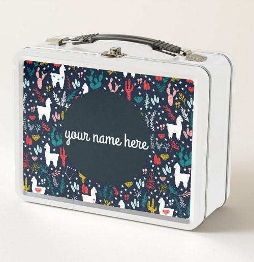 Personalized Llama Lunch Box