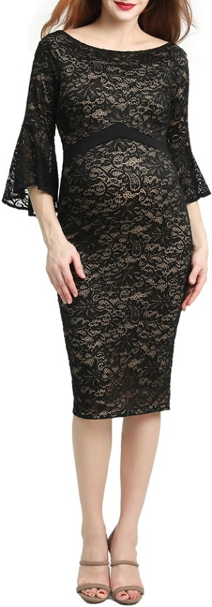 Black lace maternity dress with flared sleeves