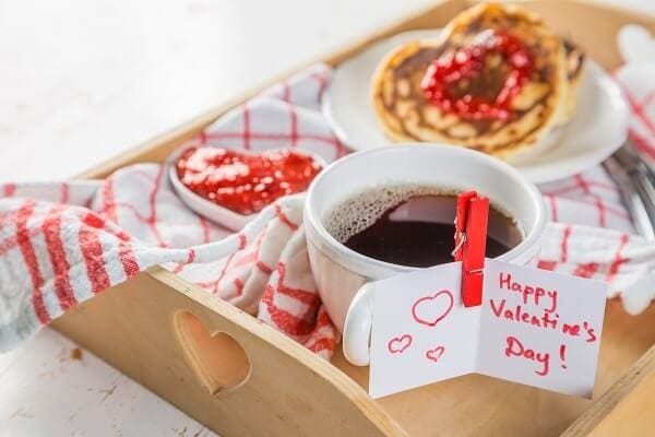 At Home Valentines Day Ideas - Breakfast in Bed