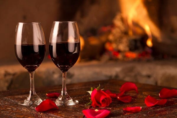 At Home Valentines Day Ideas - Wine By The Fireplace