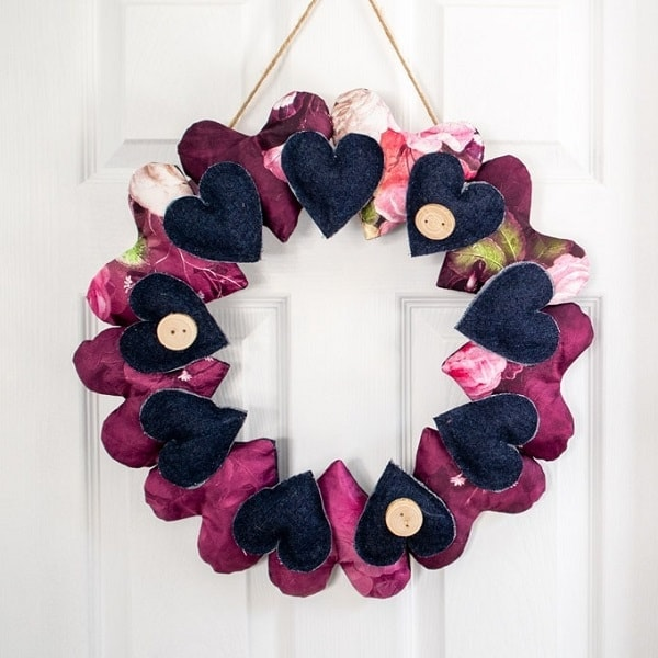 Heart Wreath Made From Scrap Fabric