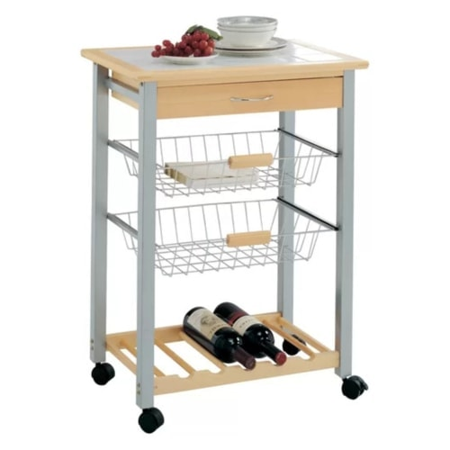 Organize It All Kitchen Cart with Tile Top