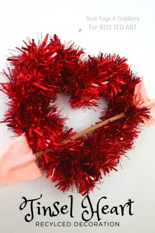 Recycled Tinsel Heart Wreath