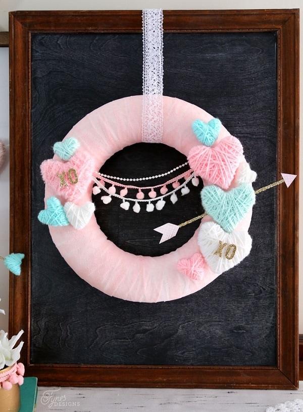 Yarn Wrapped Hearts Wreath
