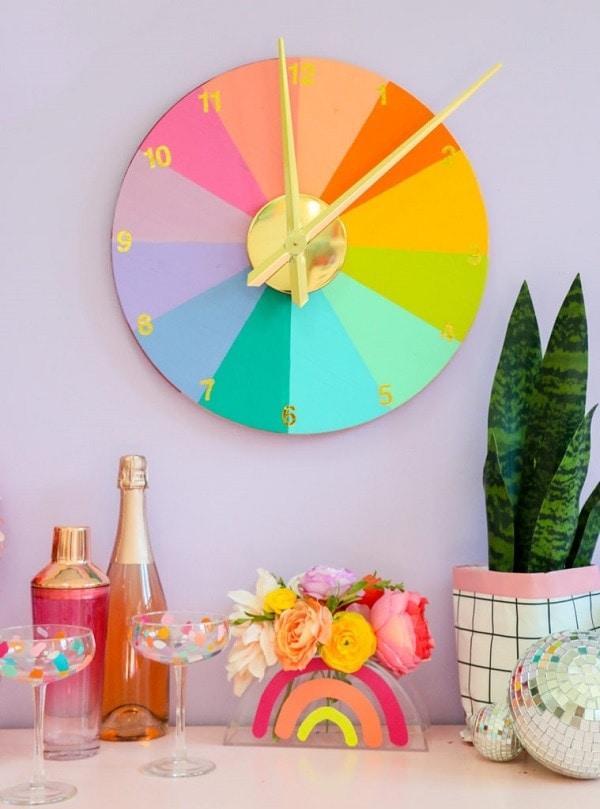 DIY Color Wheel Rainbow Clock