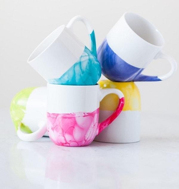 DIY Marble Dipped Mugs