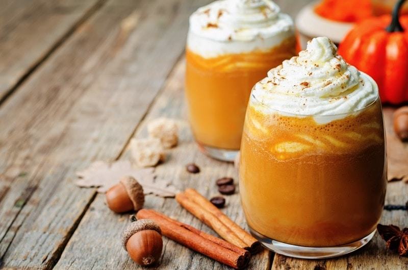 honey pumpkin spice latte with whipped cream
