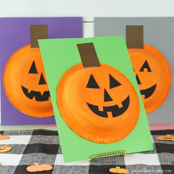 Easy Paper Bowl Pumpkin Craft for Kids