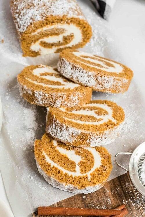 Pumpkin Roll - Thanksgiving Desserts with Pumpkin
