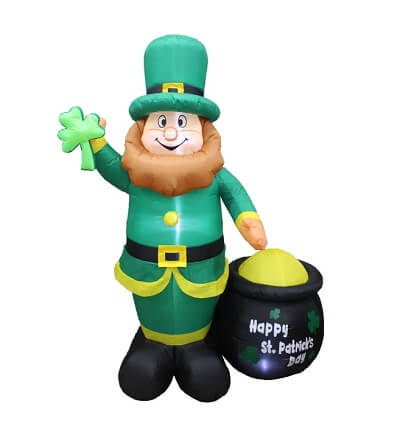6 ft. Inflatable Leprechaun Holding Shamrock and Pot Of Gold Decoration